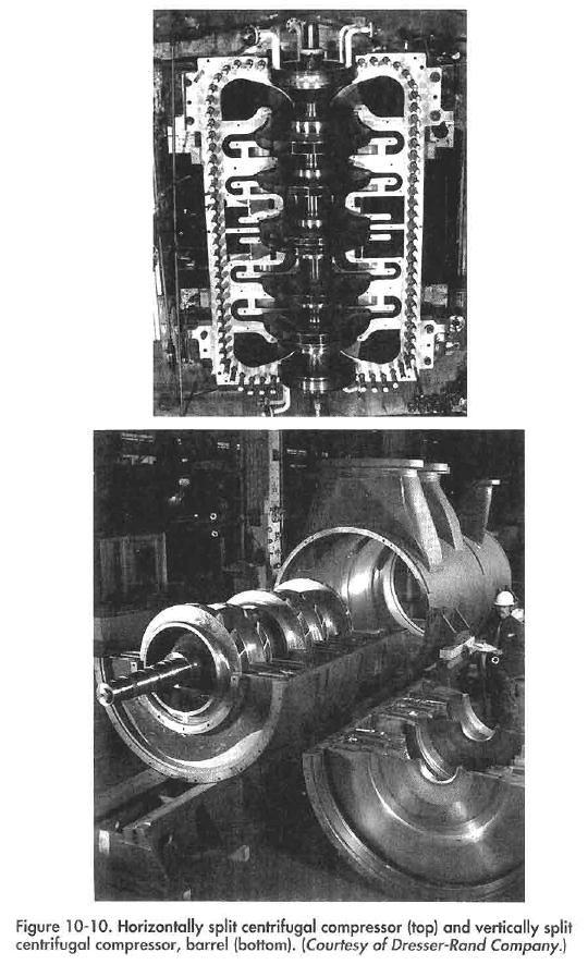 Horizontally split centrifugal compressor (top) and vertically split centrifugal compressor, barrel (bottom). {Courtesy of Dresser-Rand Company.)