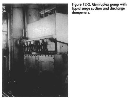 Quintuplex pump with liquid surge suction and discharge dampeners.
